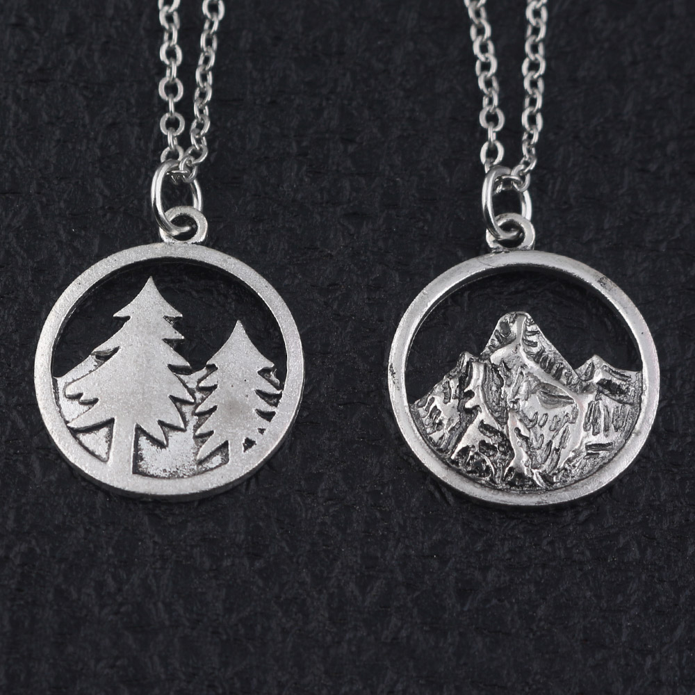 Mountain necklace Pine Tree and Mountain pendants necklaces Outdoor Travel Jewelry Climbing Gifts