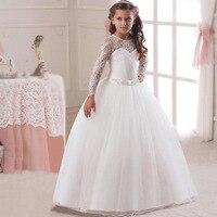 Girls Long Sleeve Dress Princess Lace Dress For Kids Party Wedding Children Fashion Teenager Performance Formal