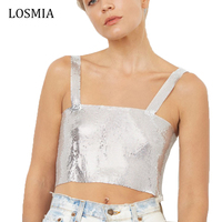 Losmia Shiny Gold Strapless Bralette Sequin Top Sexy Metal Fashion Ladies Party Backless Bustier Tank Top