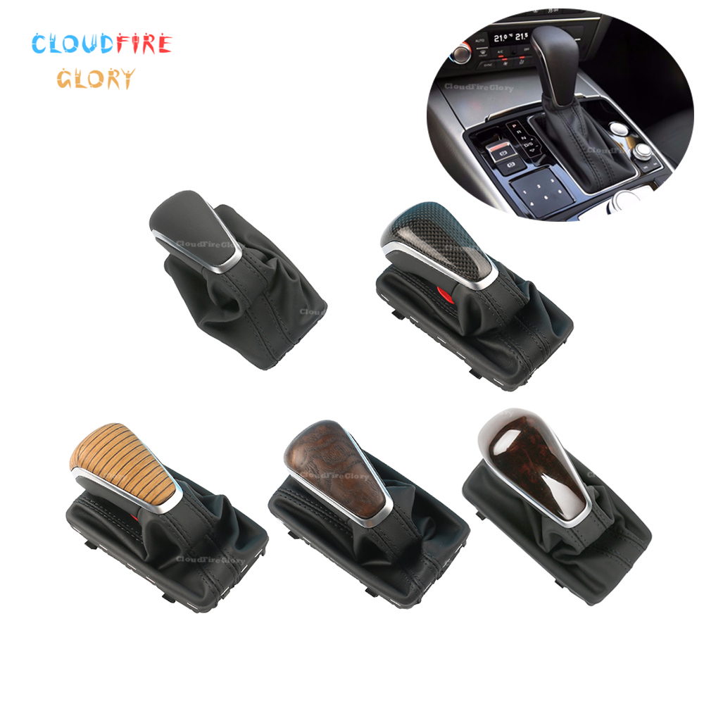 CloudFireGlory Black Carbon Fiber Wood Color Gear Shift Knob w Leather Boot Gaiter LHD AT AT
