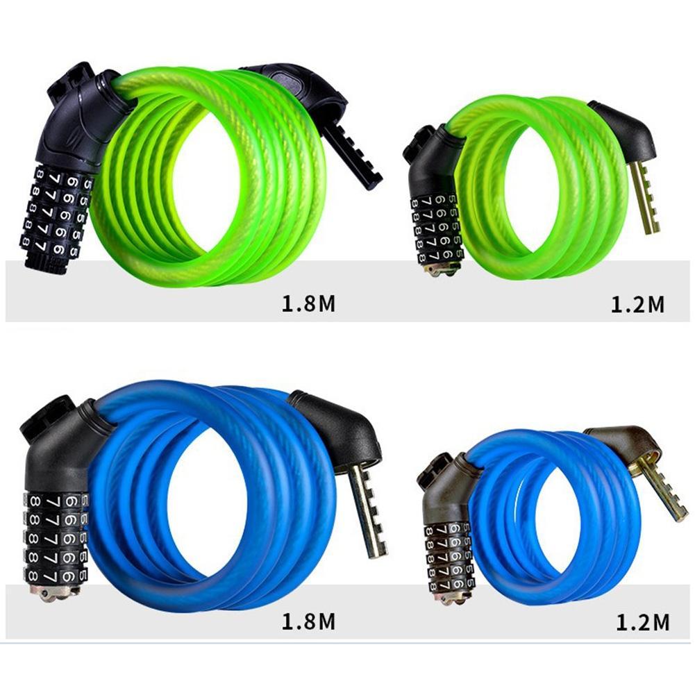 5-digit Combination or Key Bike Lock Steel Cable Bicycle Motorbike Security Lock