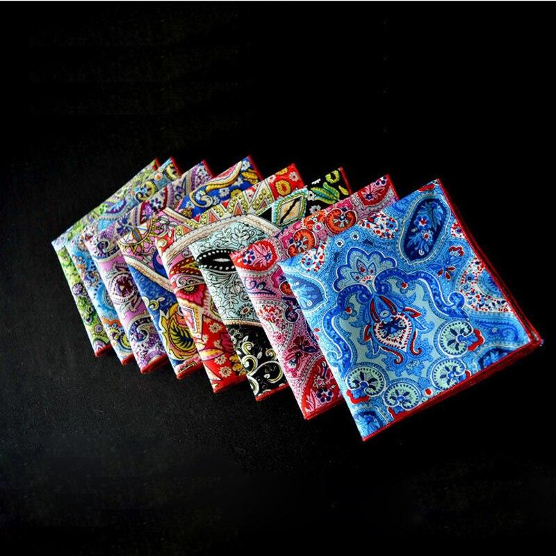 3Pcs/Lot European And American Luxury Men Formal Wear Print Cotton Pocket Square Handkerchiefs 25*25cm 8Items