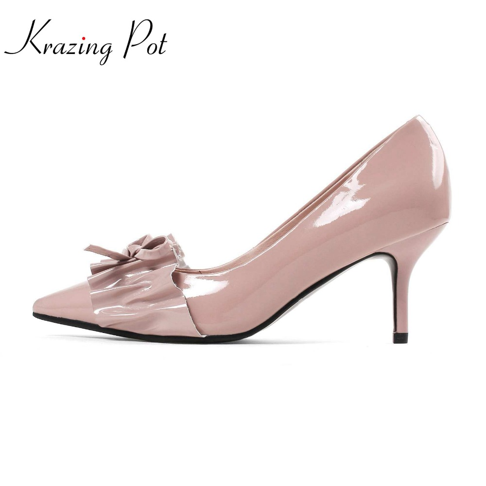 Krazing pot cow leather stiletto women shoes slip on butterfly knot pleated pointed toe office high heels streetwear pumps L62 2017 fashion brand shoes strange high heels stiletto pointed toe women pumps slip on cow leather design hollow wedding shoes l01