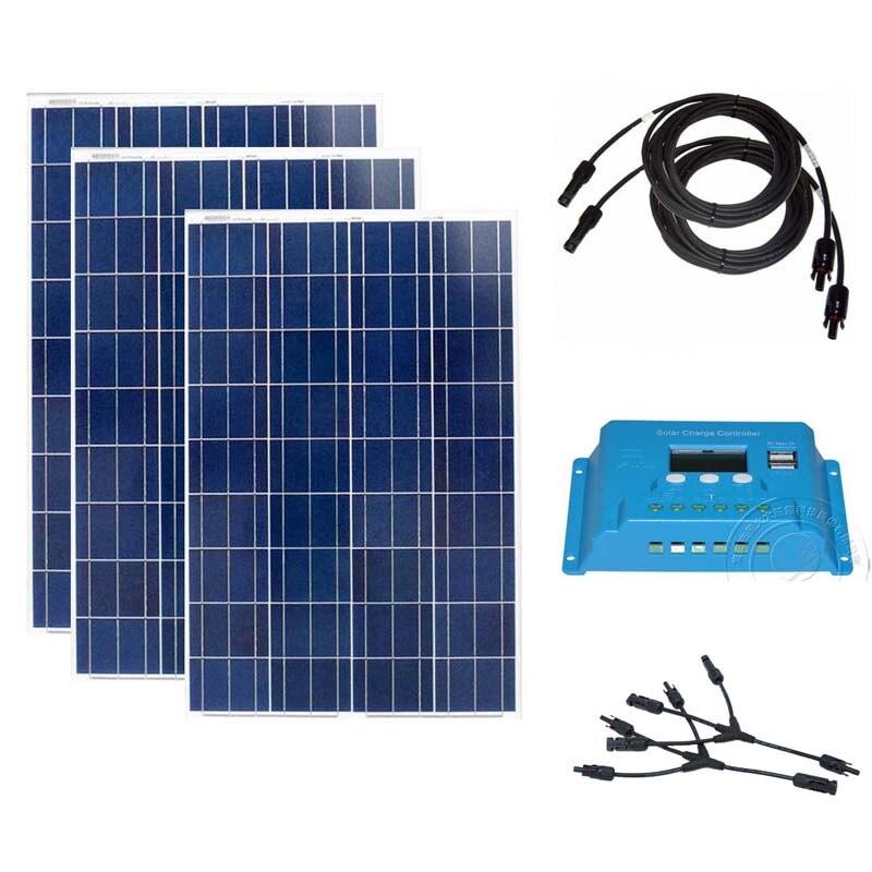 Kit Panel Solar Para Hogar 300w  Charge Controller 12v/24v 10A 100w 12v 3 PCs RV Boat Mobile Telephone
