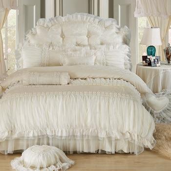 Korean Style Beige Lace Jacquard Satin Princess Bedding Set Luxury Queen King Duvet Cover Bed Sheet Bedspread Pillowcases Cotton