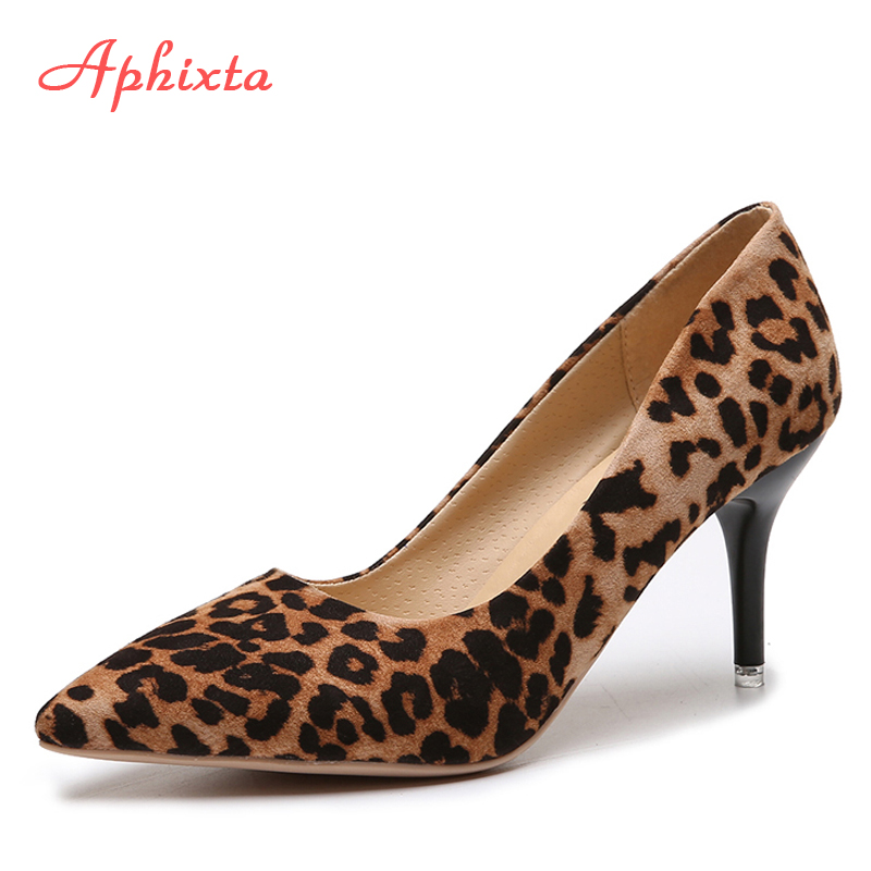 Aphixta 2019 Leopard Shoes Woman Heels Pumps High Nude 8cm Thin Heels Wedding Shoes Party Ladies Shoes Classic Pumps Big Size 44Aphixta 2019 Leopard Shoes Woman Heels Pumps High Nude 8cm Thin Heels Wedding Shoes Party Ladies Shoes Classic Pumps Big Size 44