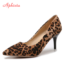 Aphixta 2019 Leopard Shoes Woman Heels Pumps High Nude 8cm T