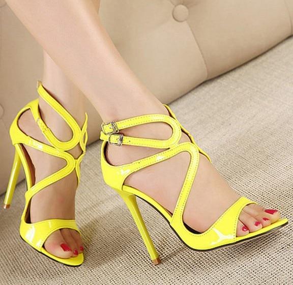 Ladies Yellow High Heel Shoes - Qu Heel