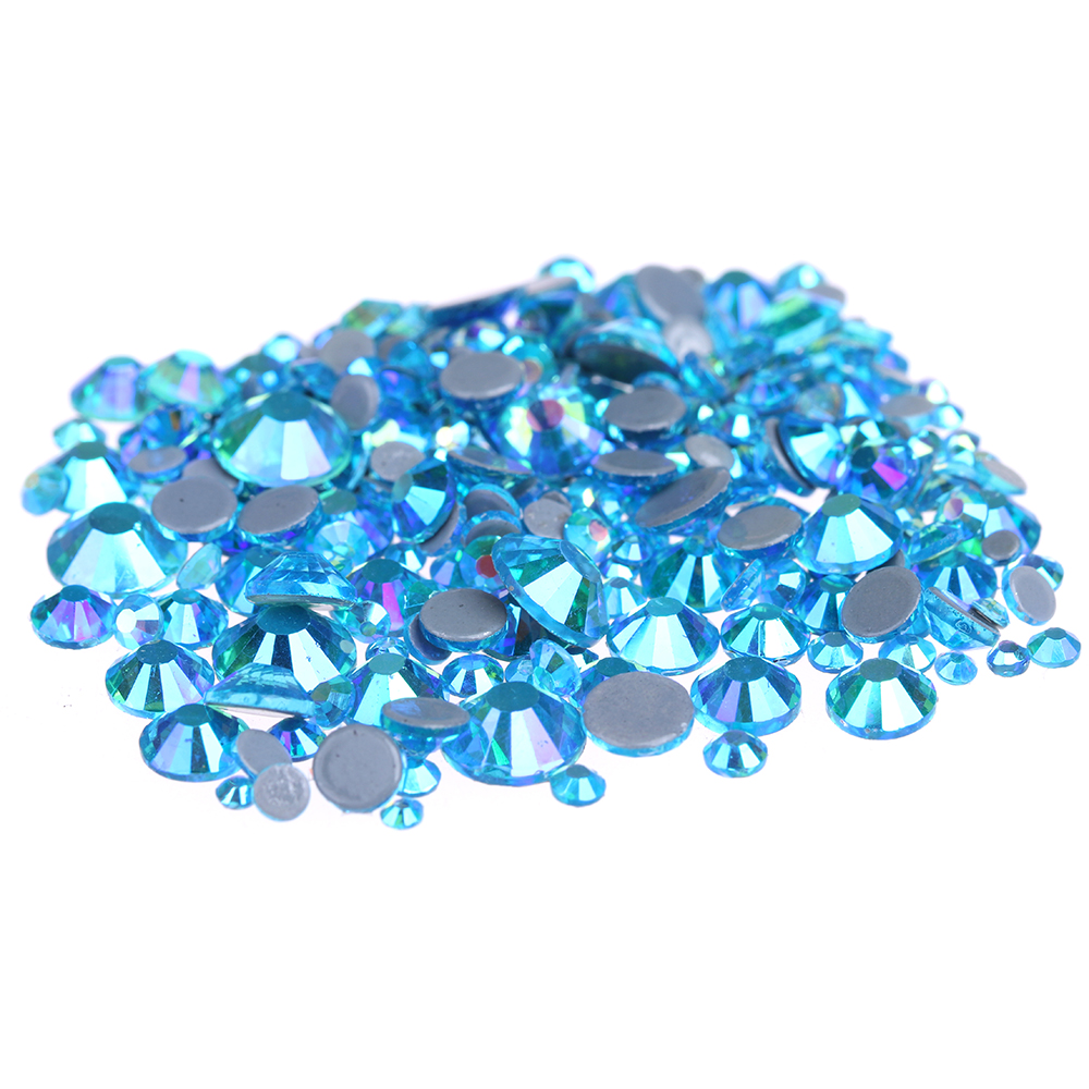 DIY Clothes Shoes Bags Hotfix Crystal Rhinestones Bridals Dress Aquamarine AB Glue Backing Iron On Strass Chatons