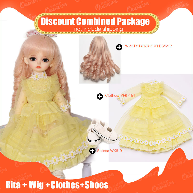 OUENEIFS 1/6 BJD SD Girl Doll Rita + Wig + Beautiful Clothes + Shoe Discount Combined Package Fashion Resin Figures