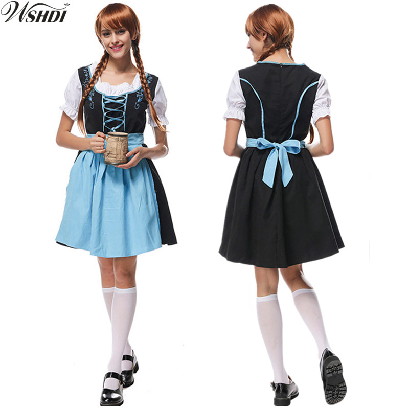M-XL Womens Sexy Oktoberfest Costume Beer Girl Wench Costumes Bavaria Heidi Dirndl Maiden Dress Apron Blouse Gown Costume