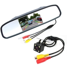 HD Video Auto Parking Monitor 4LED Night Vision CCD Car Rear View Camera With 4.3 inch Car Reverse Mirror Monitor