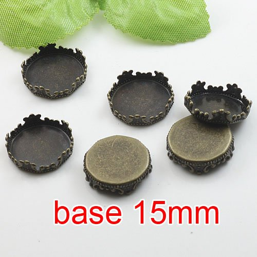 Free shipping!!! 500pcs imperial crown bronze Picture Frame charms Pendants 15mm,Cameo Cab settings