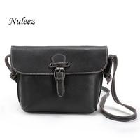 Nuleez Women Summer Bag Real Leather Bag Cross Body Ladies Genuine Leather Handbags Small Messenger Bags Black Red Brown 1204