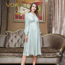 VOA Light Green Mori Girl V Neck High Waist Tunic 100% Silk Midi Dress Long Sleeve sukienki sukienka vestiti donna Sweet A10063