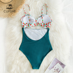 Image 5 - CUPSHE Mini Hibiscus and Solid Blue One Piece Swimsuit Sexy Cut Out Bowknot Women Monokini 2020 Girl Beach Bathing Suit Swimwear