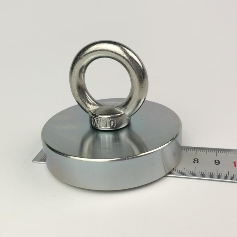 1 pcs D74mm busca de neodímio ímã pote com uma argola de recuperação de pesca ímã fixação antena magnética bases de montagem