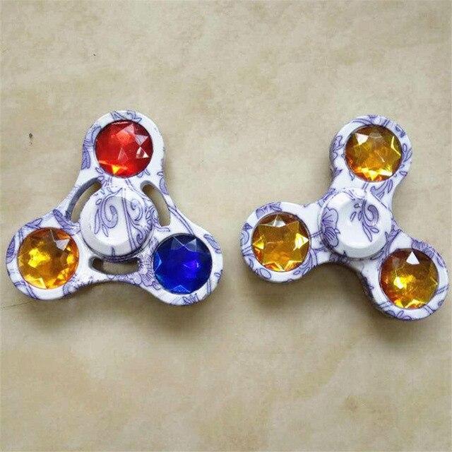 100pcs blue and white porcelain EDC Fidget Spinner Tri spinner Zinc Hand Spinner Aluminum Alloy Fidget