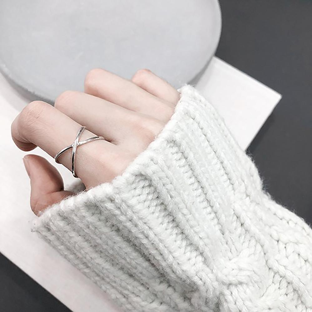 Laramoi Thin 925 Streling Silver Ring For Women Adjustable Vintage Cross Buckle Twine Rings For Girls Charm Fashion Jewelry Gift