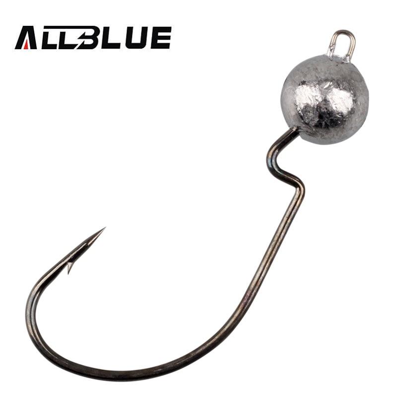 ALLBLUE Exposed Lead Jig Head 3.5g 5g 7g 10g Barbed Hook Soft Lure Jigging Worm Shad Hook Fishing Hooks
