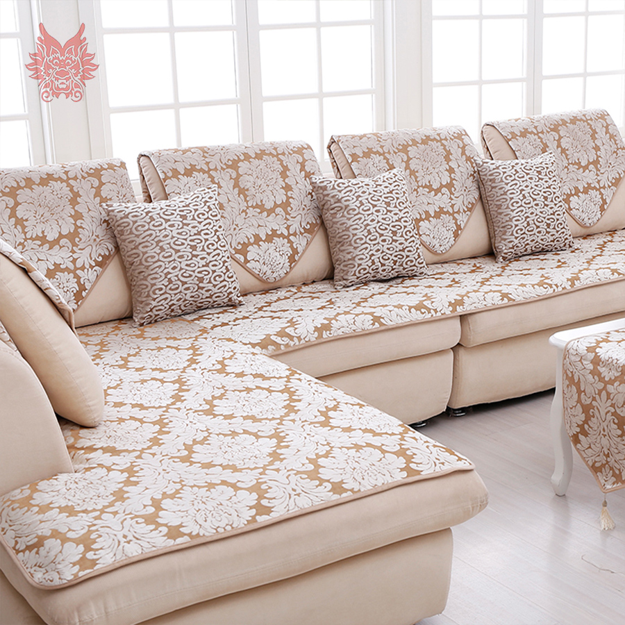 Europe Style Beige Floral Jacquard Terry Cloth Sofa Cover Plush
