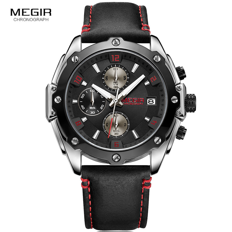 2018 MEGIR Quartz Men Watches Top Brand Luxury Fashion Casual Business Watch Clock Men Leather Strap Relogio Masculino 2074 купить недорого в Москве