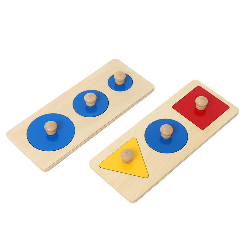 2pcs Wooden Shape and Color Learning Baby Toys Montessori Early Educational Math Toy Shape Puzzles Gift for 0~3 Year Old Kids