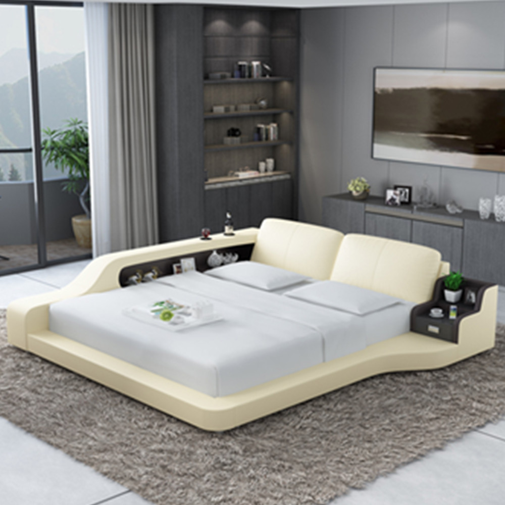 US $1069.0 |New house or hotel sleeper sofa bed modern leather beds-in Beds  from Furniture on AliExpress