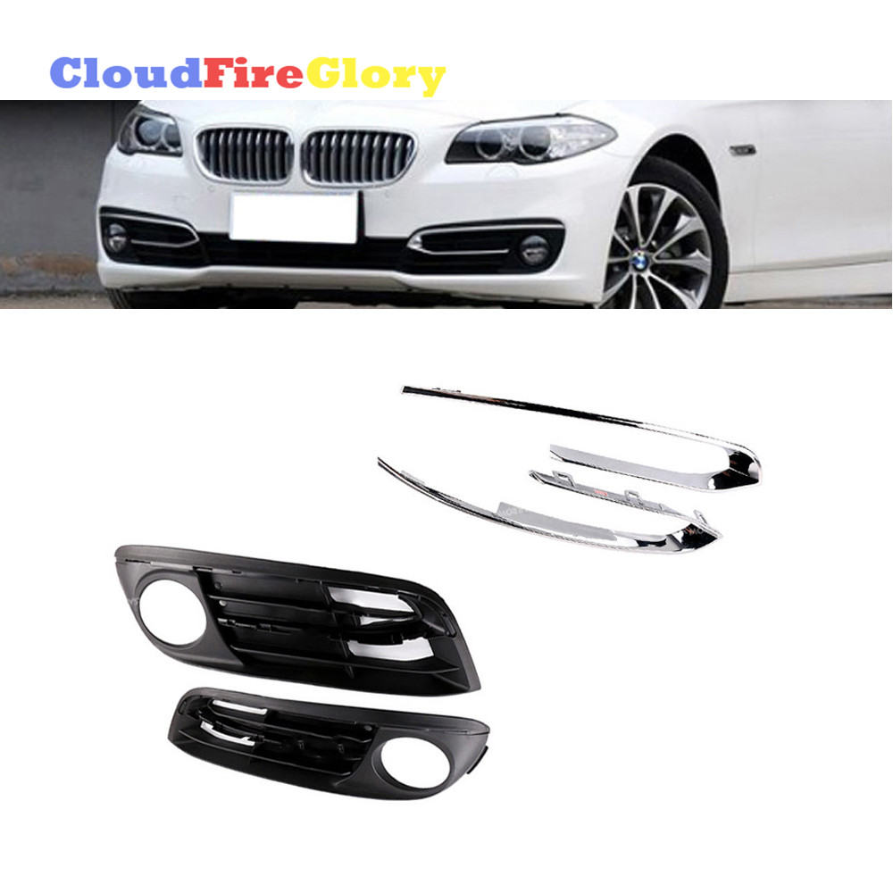 4Pcs Set For <font><b>BMW</b></font> F10 <font><b>F11</b></font> 520i 525d 528i 535i 535iX 550i x4 <font><b>Bumper</b></font> Fog Light Chrome Grill Grille Trim 51117342389 51117342390 image
