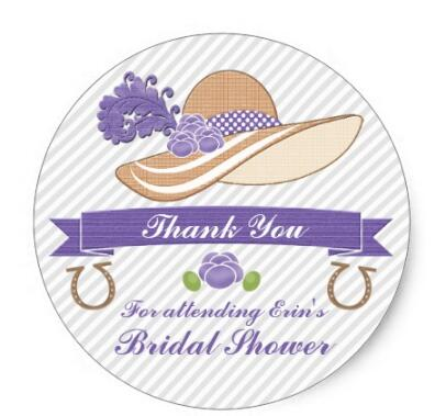 Купить с кэшбэком 1.5inch PURPLE AND GRAY DERBY THEMED SHOWER THANK YOU CLASSIC ROUND STICKER