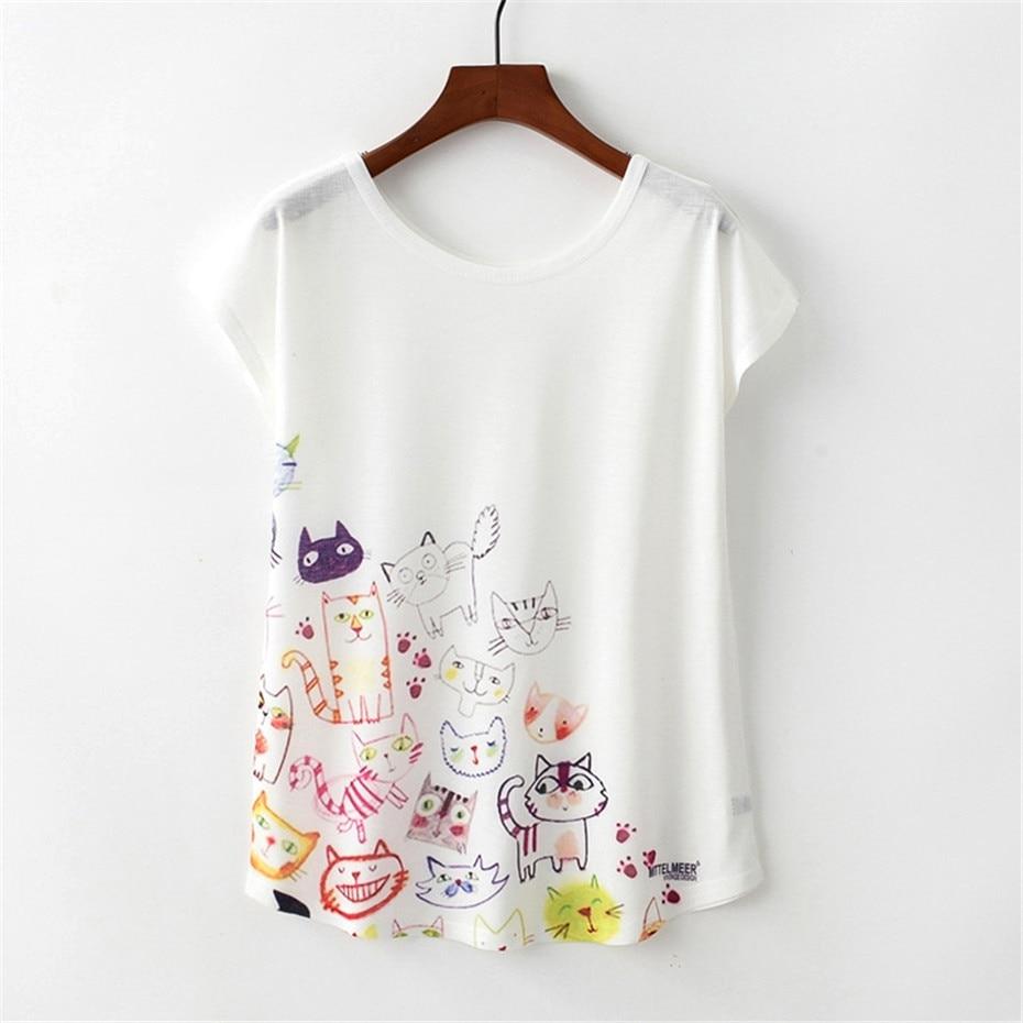 Women T Shirt Harajuku Kawaii Cute Style Cartoon Cat Print T-shirt