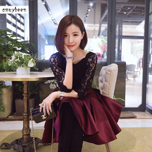 Lace Dress Winter Autumn Women 2017 Vintage Christmas Tunic Black Red  Bubble Korean Sexy Party Evening · 2 Colors Available e6dd784cf0a3