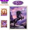 GGDB Diy Diamond Paintings Purple Beauty Unicorn 5D Diamond Embroidery Hobbies And Crafts Full Drill Drawings