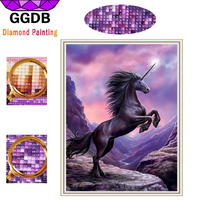 GGDB Diy Diamond Paintings Purple Beauty Unicorn 5D Diamond Embroidery Hobbies And Crafts Full Drill Drawings