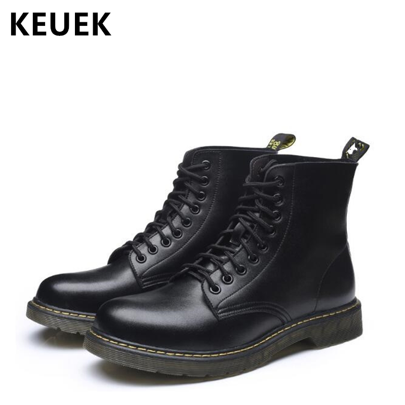Autumn Winter Men Motorcycle boots Genuine Leather Ankle boots Vintage Brand Tooling boots Male shoes Snow