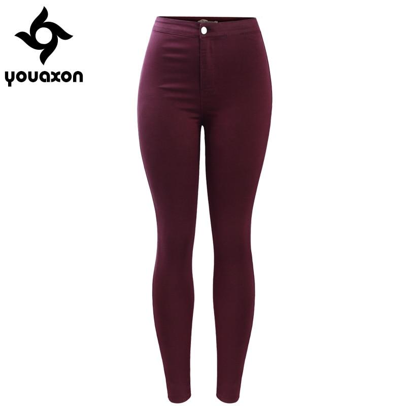 2035 Youaxon Women`s Free Shipping Burgundy Elastic Denim Jean Pants Trousers Skinny Pencil High Waisted Woman Jeans Femme