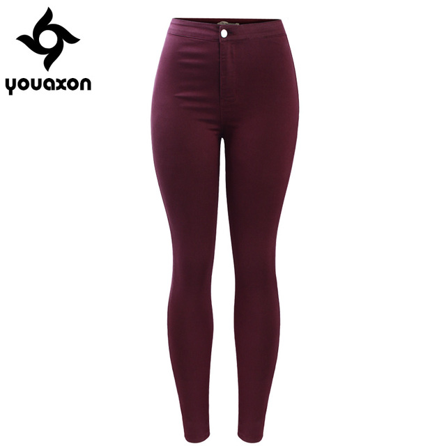 2035 Youaxon Women s Free Shipping Burgundy Elastic Denim Jean Pants Trousers Skinny Pencil High Waisted