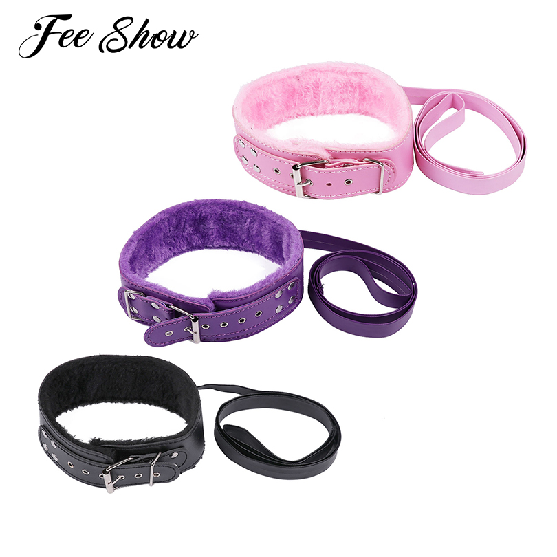 Feeshow Unisex Fuax Leather Soft Adjustable Neck Collar Choker Fur Lining With Detachable Leash for Men Women Exotic Accessories