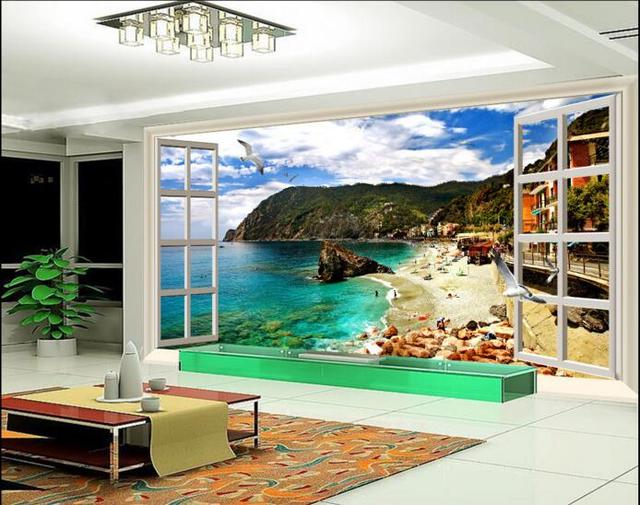 3d wallpaper custom mural non woven room wall sticker coastal scenery outside the window painting
