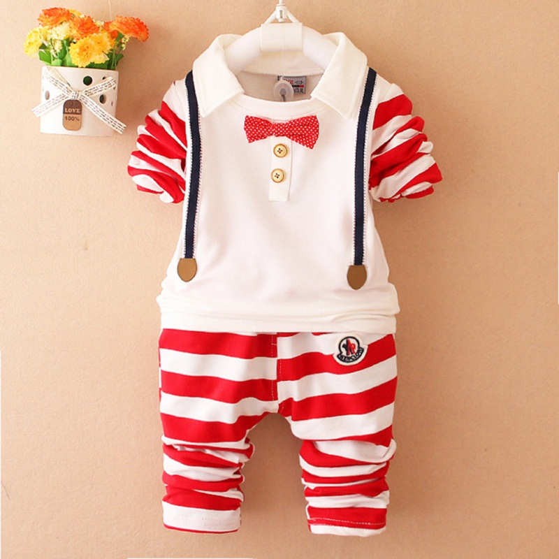 2018 Kid Clothing Spring Boys Tracksuit Kids Clothing Fake Two Striped Suit Tie Shirts + Striped Pants Boys Sport Suit
