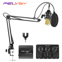 heat! Multiple styles of professional condenser microphone bm800 with live sound card for computer recording and video chat