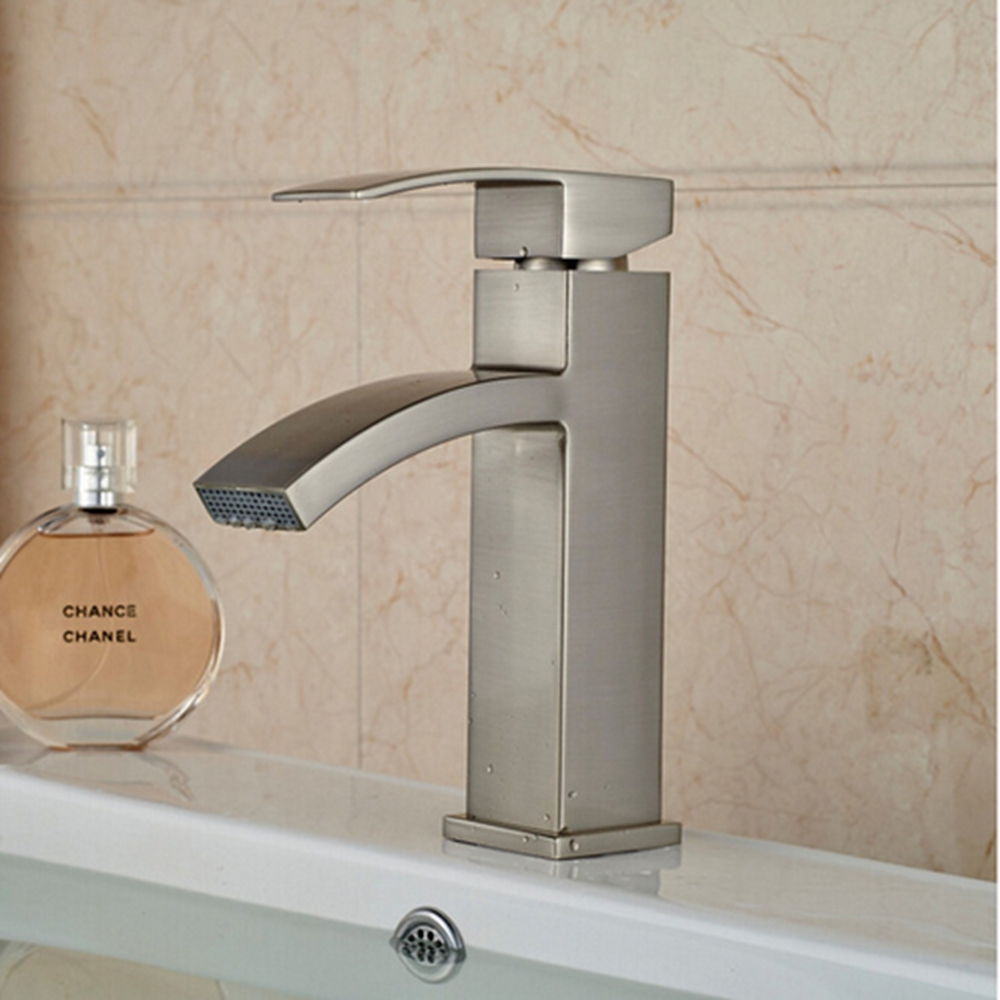 Newly Arrival US Free Shipping Waterfall Bathroom Basin Faucet Brushed  Nickel Vanity Sink Mixer Tap Vessel