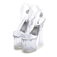 Summer Shoes Woman 2018 Vogue Clear Heels Sexy Gladiator Transparent Heeled Sandals Super High Heel MS-B0058