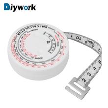 DIYWORK BMI masy ciała wskaźnik narzędzie pomiarowe taśma narzędzia narzędzia do diety utrata masy ciała 150 cm wysuwana taśma miernicza kalkulator tanie tanio Maszyny do obróbki drewna 1 5 M Z tworzywa sztucznego 15083