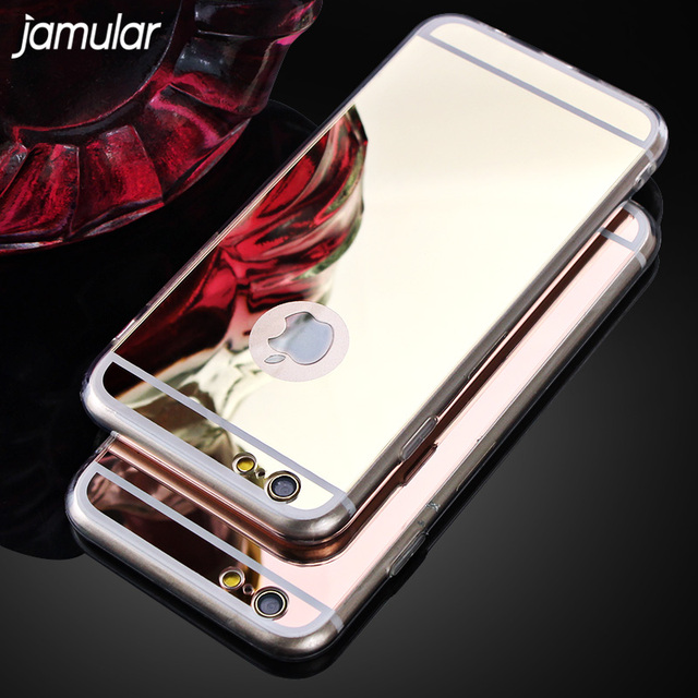 JAMULAR Electroplating Soft Clear Silicone Mirror Case For iphone X 7 6 6S 5s SE Back Cover Case For iphone 6 6s 7 Plus 8 Plus