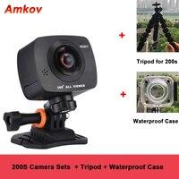 Новое поступление AMKOV AMK200S двойной объектив 360*360 градусов Панорама камера HD Wi Fi спорт экшн камера Поддержка VR Youtube