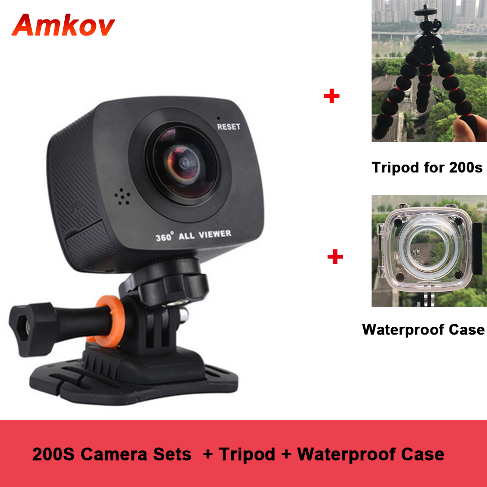 US $169 0 |New Arrival AMKOV AMK200S dual lens 360*360 Degree Panorama  Camera HD WiFi Sport Camera Action Camera Support VR Youtube-in 360° Video