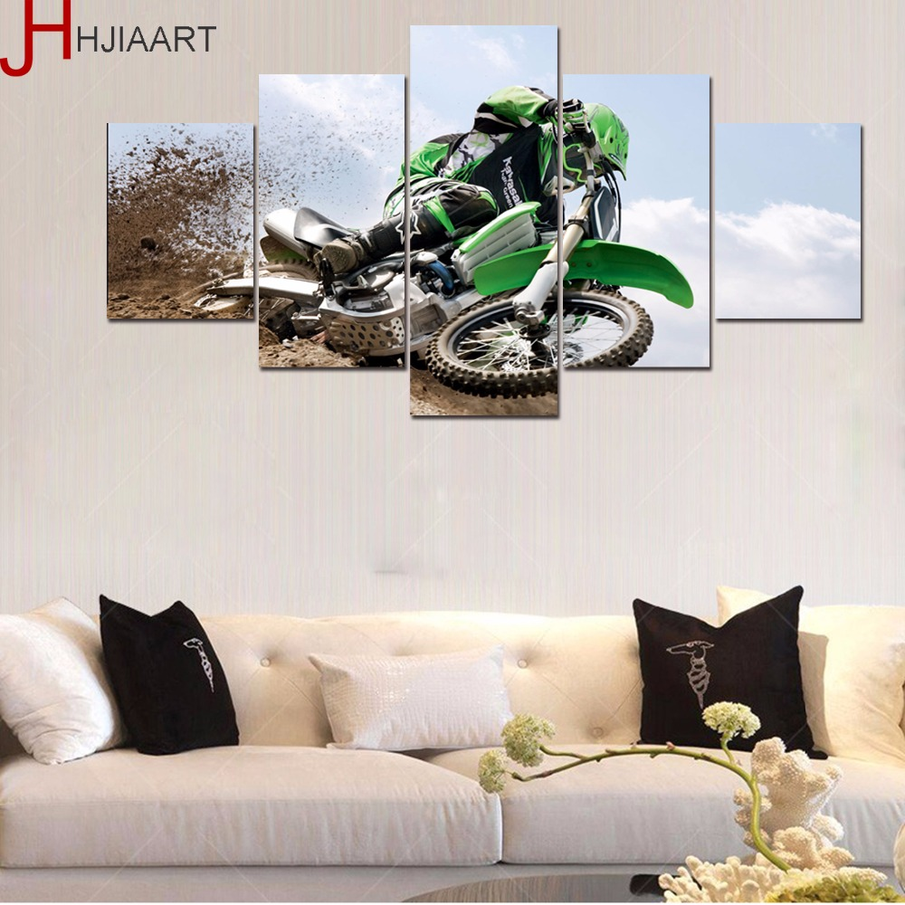HJIAART 5 Panels Framed Motorcross Painting for Living Room Wall Art Picture Sports View Modern Home Decoration Drop Shipping