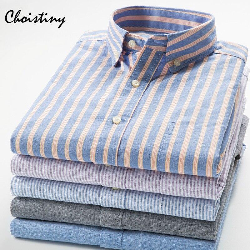 2018 Marca 100% Cotone Camicia A Righe Uomo Primavera Camicie Casual Oxford Vestito Camisa Masculina Bianco Nero
