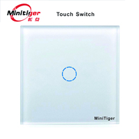 New MiniTiger Wall Touch Switch Luxury White Crystal Glass Normal 1 Gang 1 Way Switch MT601